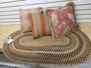 Braided Rug & Throw Pillows
