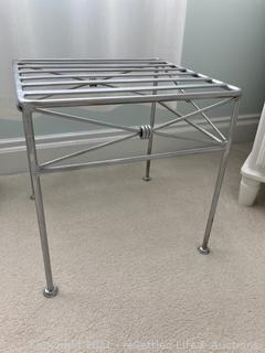 Silver Metal Side Table