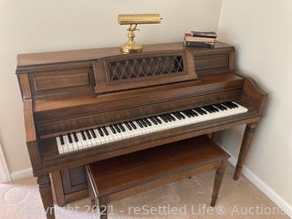 Everett Piano Company Piano, Light, Bench and Sheet Music