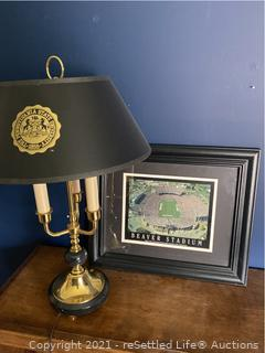 Penn State Lamp and Framed Stadium Photo