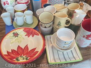 Fiesta Holiday Mugs and Norman Rockwell Coffee Cups