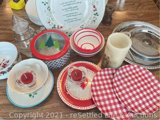 Variety of Holiday Plates and Bowls