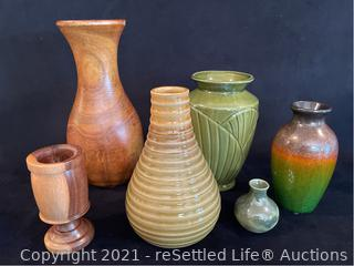 Variety of Wood and Pottery Vases