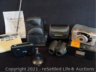 Bushnell Binoculars, Midlands Weather Alert Radio and Garmin Nuvi