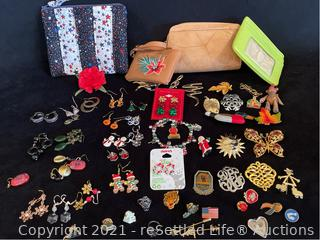Variety of Earrings and Brooches