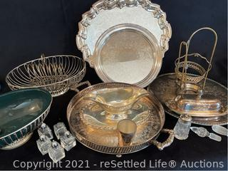 Variety of Silver Plated Trays and Servers