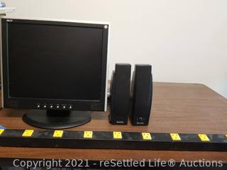 Acer Monitor, Speakers & Power Strip