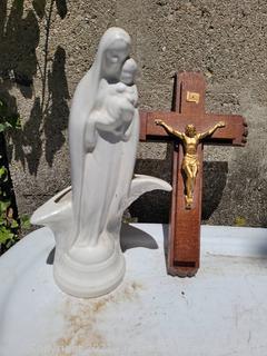 Christian Statue & Crosses