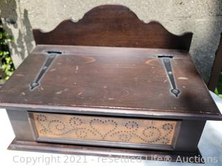 Pfaltzgraff Punched Copper and Wood Bread Box