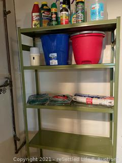 Metal Storage Shelf and Contents