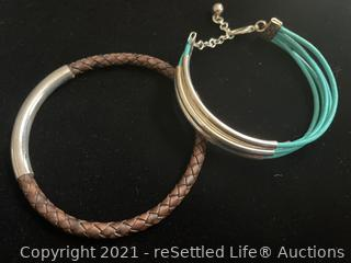 Leather Bangles With Sterling Silver Accents