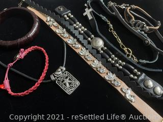 Variety of Leather Jewelry