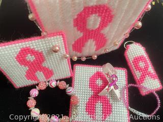 Handmade Pink Ribbon and Jewelry