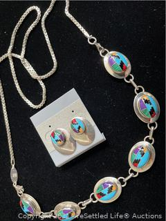 Sterling Silver Paolo Romeo Necklace and Earrings
