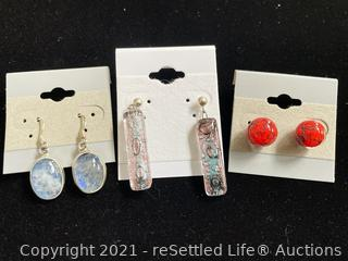 Trio of Sterling Silver and Glass Earrings