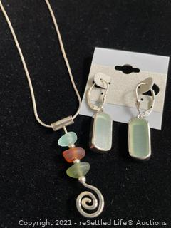 Sterling Silver and Sea Glass Necklace and Earrings