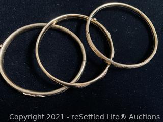 Trio of Gold Plated Bangle Bracelets