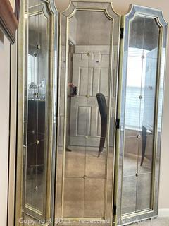 Tri Fold Floor Mirrored Screen