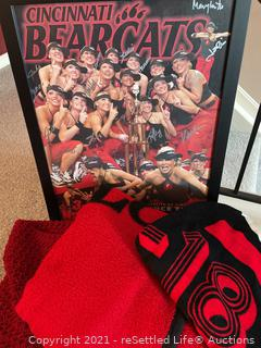 Cincinnati Bear Cats Framed Poster and a Trio of Blankets