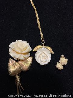 Trio of Vintage 12k Gold Filled White Rose Set