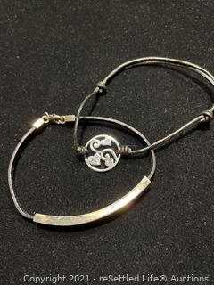 Sterling Silver and Leather Bracelets