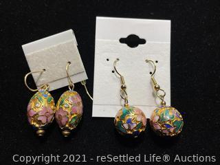 Pair of Enamel Earrings