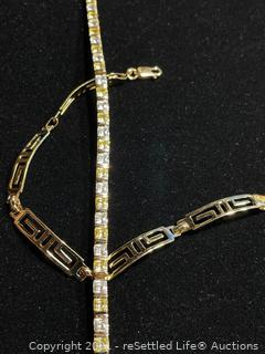 Pair of Sterling Silver Gold Tone Bracelets