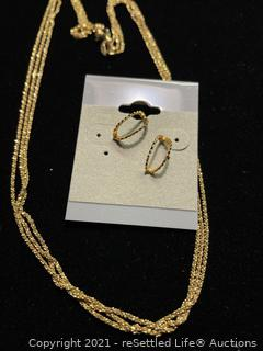 Sterling Silver Gold Tone Necklace and Earrings