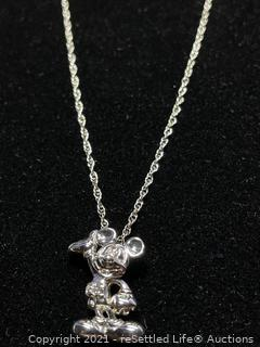 Sterling Silver Mickey Mouse Necklace