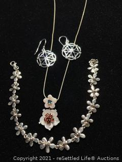 Sterling Silver Necklace, Bracelet and Earrings