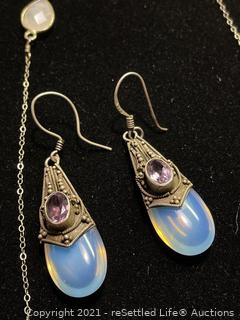 Sterling silver Moon Stone Earrings and Necklace