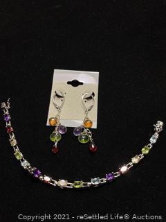 Sterling Silver Earrings and Bracelet