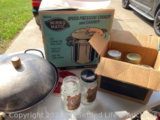 Mirro-Matic Canner, Jars, Rubbermaid and Wok
