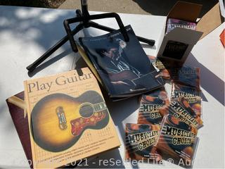 Guitar Strings, Stand, Books and Bongo