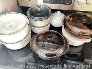 Variety of Corningware and Pyrex