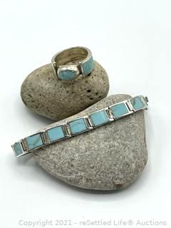 Sterling Silver and Larimor Bracelet and Ring