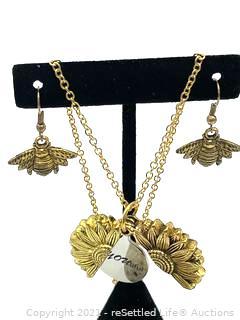 Sunflower and Bee Jewelry Set