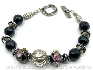 Sterling, Onyx, and Dichroic Bracelet