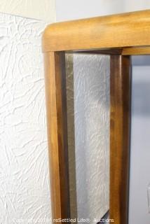 Oak Glass Shelf with Crystal Pieces