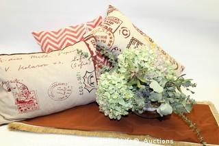 Throw Pillows with Table Runner and Botanical in Crystal Bowl