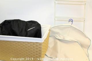 Garment Bags, Laundry Basket and Shelf