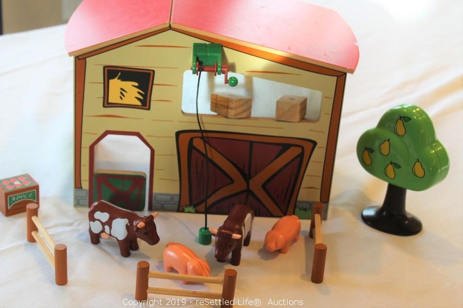 Resettled Life Auctions Auction Absolute Downsizing Auction With Additions Ft Mitchell Ky Item Wooden Toy Barn With Playmobile Accessories