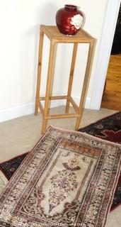 Runner and Accent Rugs With Plant Stand and Vase