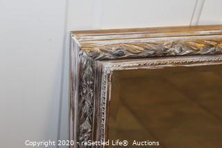 Gold and White Distressed Mirror