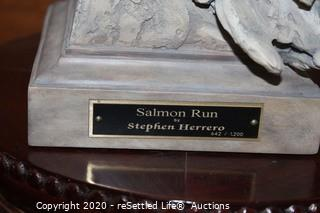 "Numbered Sculpture of Steven Herrero ""Salmon Run"" with Base"