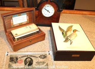Pair of Wooden Musical Jewelry Boxes and Mantle Clock