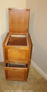 Rolling Oak Filing Cabinet