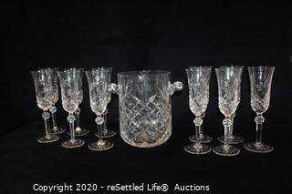 Wedgewood Crystal Champagne Flutes & Ice Bucket
