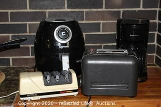 Toaster, Coffee Maker, Air Fryer and Knife Sharpener