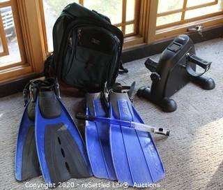 Flippers, Backpack and AGM Exerciser